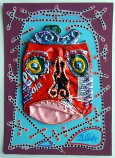 Smashed soda can face - embellished with acrylic paint and puffy paint