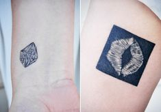 a close-up of our new tattoos - my gem rock hand cut diamond and joey's inverted kiss mark of my lip print