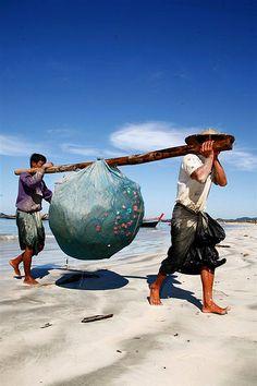 Fishermen in Ngapali Beach, Myanmar