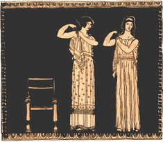 This picture shows women getting dressed in their peplos. The peplos was put over the head and was made to fit closely at the shoulder with fasteners. The arms were left bare. It was held at the waist with a girdle. The lower edge was finished with a braid. The peplos was open at the right side and hung in folds from the shoulder. Ancient Greek, Fashion, Costumes, Brides Dresses, Display, Greek Women, Ancient Greece, Flowers, Fabrics Pattern
