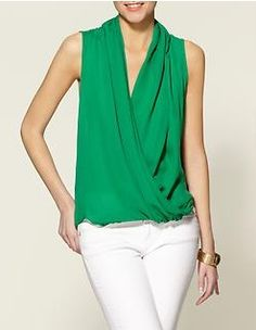 Love this kelly green silk top.