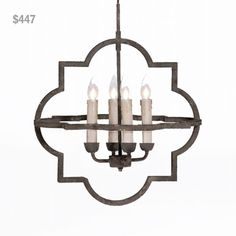 """Rusty Black Chandelier from Laura of Pembroke. To order, email sales@lauraofpembroke.com. LOP4G. (18""""W x 24.5""""H x 18""""D) Our Price: $447"""