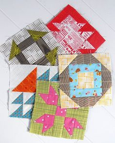 pretty quilt blocks, I especially like the green and pink block