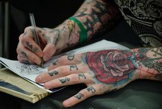 hand tattoos, drawings, hands, tattoo artists, rose tattoos, roses, sketches, letters, ink