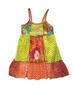 Look what I found on #zulily! Yellow & Orange Summer Garden Patchwork Dress - Girls #zulilyfinds