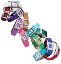 "Rhinestone-Embellished Birthstone-Color Strap Watch - Silvertone case. Leatherlike band, 9"" L Regularly $19.99, buy Avon watches online at http://eseagren.avonrepresentative.com/"