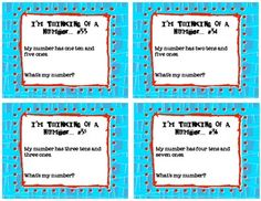 "Here's a set of ""I'm Thinking of a Number"" cards. Includes thirty-six clue cards, a place value mat with tens and ones, and a student response sheet."
