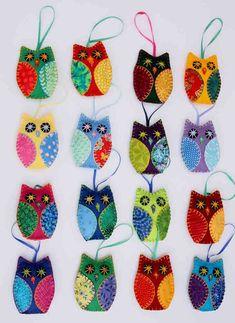Felt owl ornaments