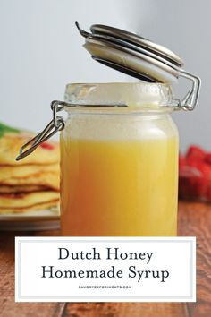 Dutch Honey Syrup Recipe is an easy homemade syrup for pancakes, waffles, French toast, biscuits or even vanilla ice cream! #homemadesyrup #dutchhoney www.savoryexperiments.com via @savorycooking