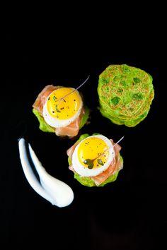 Fresh Pea Pancakes with Smoked Salmon, Crème Fraiche & Quail Eggs