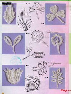 patrones+adornos+hojas+de+crochet.jpg 600×793 píxeles