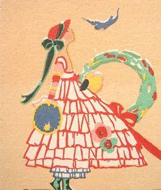 Volland CHRISTMAS Postcard Art Deco GIRL with Wreath BLUEBIRD