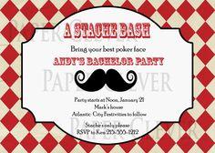 Mustache Party Invitation Bachelor Party, Birthday DIY,digital file, digital file. $12.00, via Etsy.