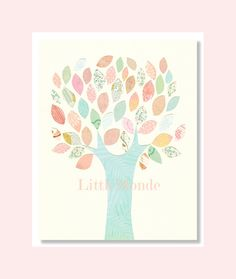 Baby Girl nursery Prints, Tree Nursery Print, Pastel Nursery, Soft Colors Nursery Art, Blue and Pink, Light