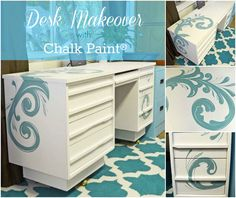 Painted Desk with Chalk Paint® with handdrawn and painted scrolls - Just Paint It Blog