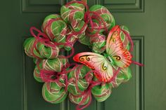 Lime Green and Pink Deco Mesh Butterfly Wreath with Pink Deco Flex Tubing