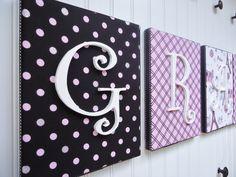 Wall Letters, Nursery Decor, Upholstered Letters, Nursery Letters, Custom Names, Nursery Art, Paris, Black Pink  White and Silver Glitter. $18.99, via Etsy.