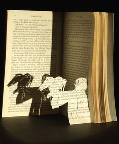 harri potter, magic, altered books, papers, cut outs, harry potter art, shadows, kid, shadow art
