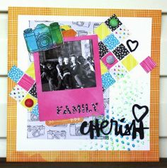 The Blue Crew: Throwback Thursday: Totally Rad Layout THIS BLOG IS GIVING AWAY FREE SCRAPBOOKING GOODIES EVERYDAY IN APRIL!!! Amy Tan, American Crafts, neon, brushscript