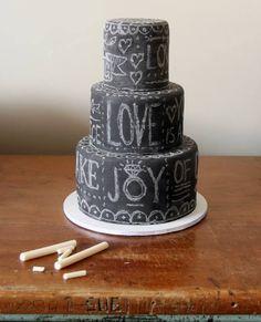 """chalkboard"" cake with edible white chocolate chalk"