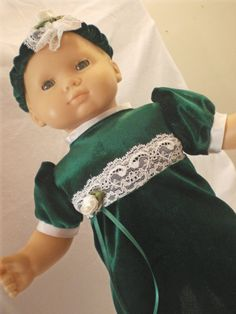 Christmas  Dress Headband Bitty Baby Doll Clothes by fashioned4you