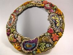 Paisley framed mini mirror wall art  polymer clay by walkercrafts, $32.00