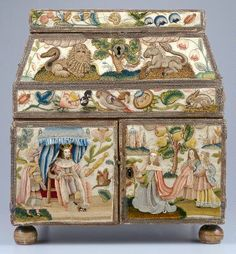 stumpwork, embroid casket, needlework, art, decorative boxes, minneapoli institut, antiqu, embroideri, embroid box