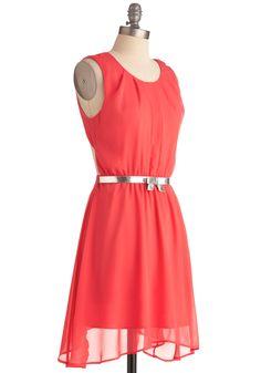 Coral Concert Dress - Mid-length, Orange, Solid, Bows, Party, Tank top (2 thick straps), Backless, Sheath / Shift