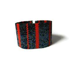 Peyote Bracelet Metallic Cuff Bracelet Red by YoursNMineDesign, $40.00