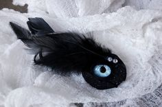 Reserved for Stephanie  Blue Glass Eye Hair Clip by MuertoMarie, $18.00
