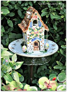 Fairy Cottage Garden Totem Stake  As by GardenWhimsiesByMary, $40.00