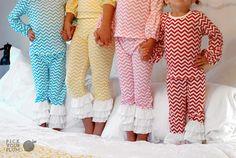 Pajama Party Time! - Girls Chevron Pajamas #chevronpajamas pickyourplum.com
