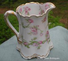 Antique Haviland Limoges Small Pitcher / Creamer Long Stemmed Roses