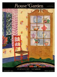 House  Garden Cover - January 1919    Snow covers the branches outside, but inside all is cozy and bright in this illustration by Helen Dryden for the cover of the January 1919 House  Garden. A vivid red chair and curio cabinet displaying ceramics sit in the corner of the room.