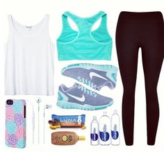 ~black exercise pants, white shirt, turquoise sports bra, turquoise nike tennis shoes, floral phone case, earbuds, sunscreen, water, and luna bar~