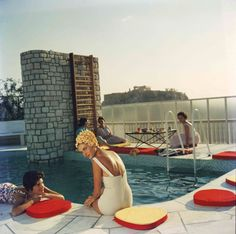 The Canellopoulos penthouse pool, Athens, July 1961 by Slim Aarons