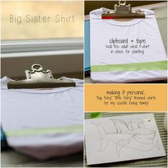 BIG SISTER/ LITTLE SISTER Make any acrylic paint FABRIC PAINT! DIY Onesie, Adorable Baby Gift Ideas, Personalized! ♥♥♥