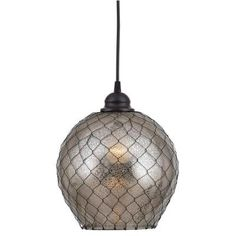 Nillo 1-Light Ceiling Oil Rubbed Bronze Pendant with Amber Glass-93038AMER at The Home Depot