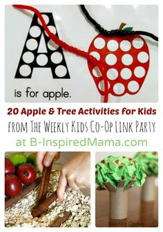 20 Awesome Apple and Tree Activities for Kids from The Weekly Kids Co-Op at B-InspiredMama.com #kids #apples #kbn #preschool