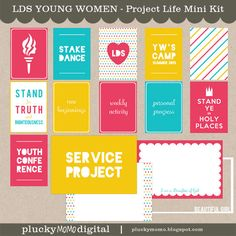 LDS YOUNG WOMENS Journaling Cards for Scrapbooking or Project Life.  via Etsy.