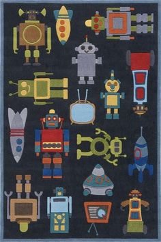 Robots, spaceships, and race cars in this masculine area rug will be great for any little man in your life. Use Coupon code KIDSRUGS12P and receive an additional 15% off all kids rugs. http://www.ruggoddess.com/momeni-lil-mo-whimsy-lmj-1-steel.html