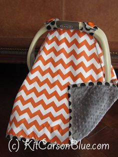 Super Cute Baby Car Seat Covers - CHEVRON in Orange and Gray