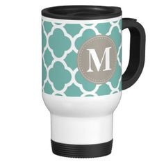 Grey Monogram Turquoise  Quatrefoil Pattern Travel Coffee Mug.  Chic, trendy, girly, Moroccan lattice quatrefoil pattern in a turquoise blue and white with a brown gray geometric circle label frame featuring a Monogram template.