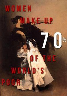"""Women make up 70% of the world's poor."" #feminism"