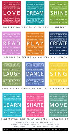 Would love to have these for my office!!! Childrens art for kids. Inspiration Typography Prints- Playroom decor set. READ, PLAY, CREATE. Kids wall art. 3 8x10 Quote prints by WallFry. $37.00, via Etsy.