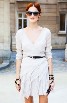 love this white wrap dress on taylor tomasi hill