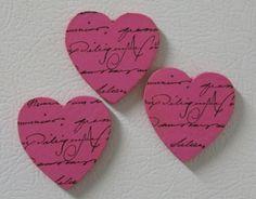 french script mini wood heart magnets great idea from oklobdesingns.
