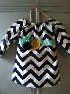 Custom 6 - 18 Month Navy Chevron Tunic Dress with Navy, Mint and Yellow Embellishments. $27.50, via Etsy.
