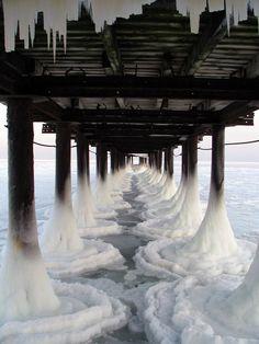 water, winter, the bridge, frozen pier, the ocean, snow, sea, bridges, photographi