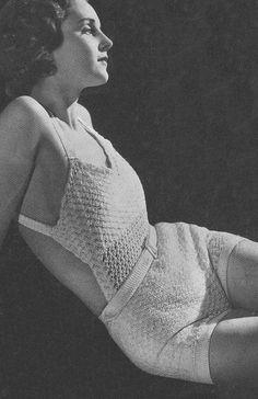 1934 Bathing Suit Vintage Crochet Pattern PDF 371